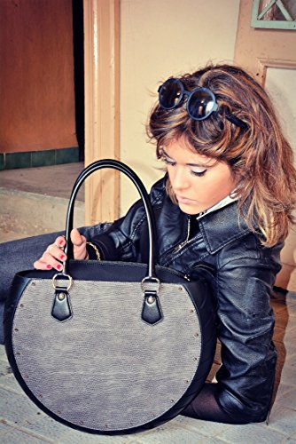 Ty's Bag, Borsa Donna COBRA GREY, colore Grigio, in Ecopelle e Gomma, Made in Italy