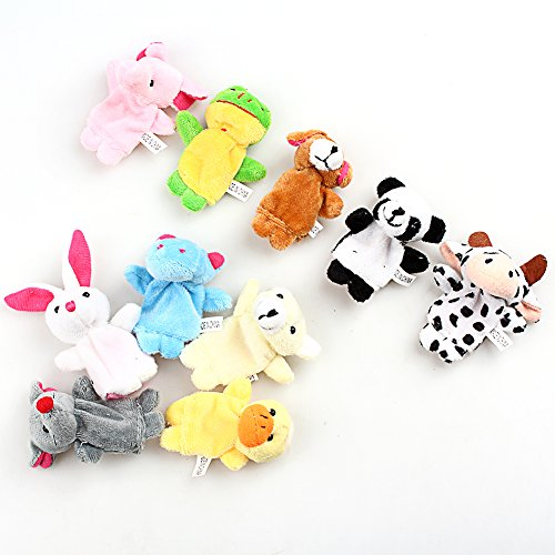 Plush Toy Finger Puppets Tell Story Props Animal Doll Kids Toys Children Gift (10 Animal Group) 10