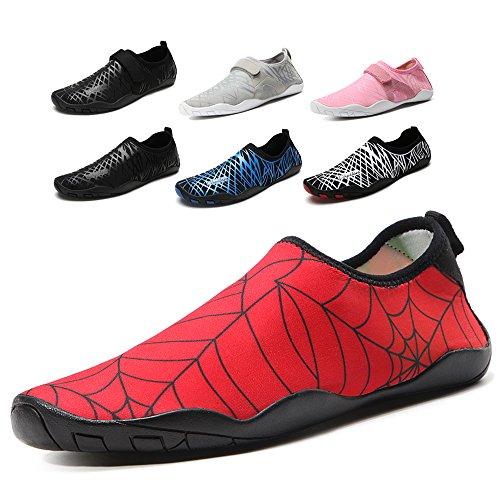 Cheston Men's Women's Barefoot Quick Dry Aqua Water Shoe Red