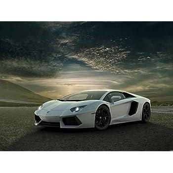 Lamborghini Aventador White Supercar Car Print Poster (440mmX600mm)