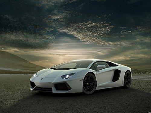 Lamborghini Aventador White Supercar Car Print Poster 440