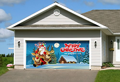 Outdoor Christmas Holiday Garage Door Banner Cover Mural Décoration 7'x16' - anta's Take Off Christmas Holiday Garage Door Banner Décor Sign 7'x16'