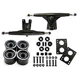 Longboard Skateboard Package, 7inch Aluminum Trucks (Black), 70mm longboard wheel set, Skateboard Bearings, Skateboard Pads 6mm, Skateboard Hardware 1.5 inch (Black)