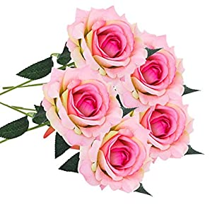 Oldeagle 5 Pcs Artificial Silk Fake Flowers Rose Floral Wedding Bouquet Party Home Decor 50