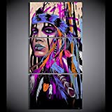 Indian Painting Native American Girl Feathered Women Canvas Print Modern Home Wall Decor Artworks Picture Art HD Posters and Prints Painting On Canvas 3 Piece Framed Stretched, 24x32 Inch/3pcs