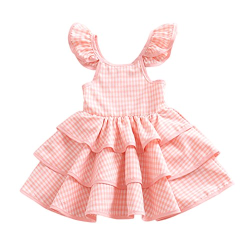 YOHA Baby Girls Lace Ruffle Jumper Dress Suspender Pinafore Toddler Skirts Pink Plaid,100
