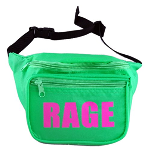 Funny Guy Mugs RAGE Fanny Pack, Neon Green (80s Guys Costume)