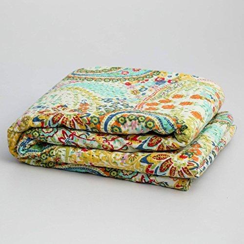 100% Cotton Quilt Floral Pattern Beige Home Décor Kantha Reverssible Bedspread Queen Size Stitch Gudri 108'' X 90'' Inches