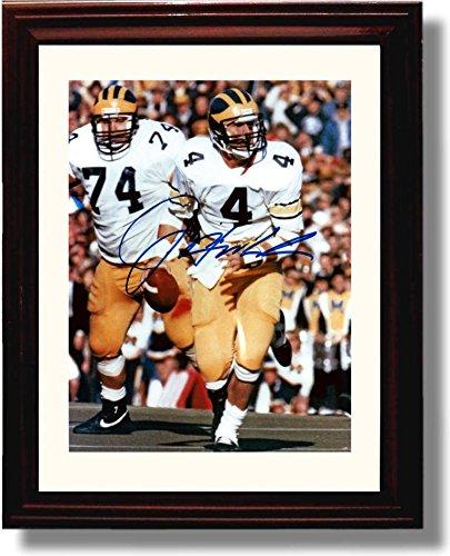 Wolverine Autograph - Framed Jim Harbaugh Michigan Wolverines Autograph Replica Print