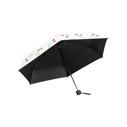 KXBYMX Sombrilla Super Light Cherry, Mini Paraguas de Cinco Pliegues, Paraguas Transparente de Doble