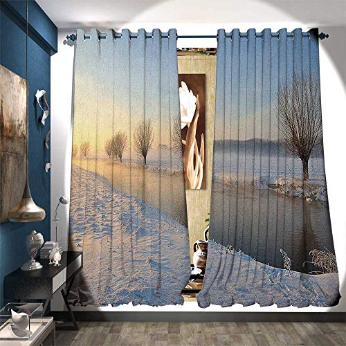 BlountDecor Patterned Drape for Glass Door Snowy River Landscape Barren and Frosted Trees Dutch Netherlands Europe Photograph Waterproof Window Curtain W84 x L96 Multicolor