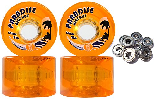 TGM Skateboards Bigfoot Freeride Longboard Wheels 65MM 78A Islanders Orange SHR Cruiser + ABEC 9'S