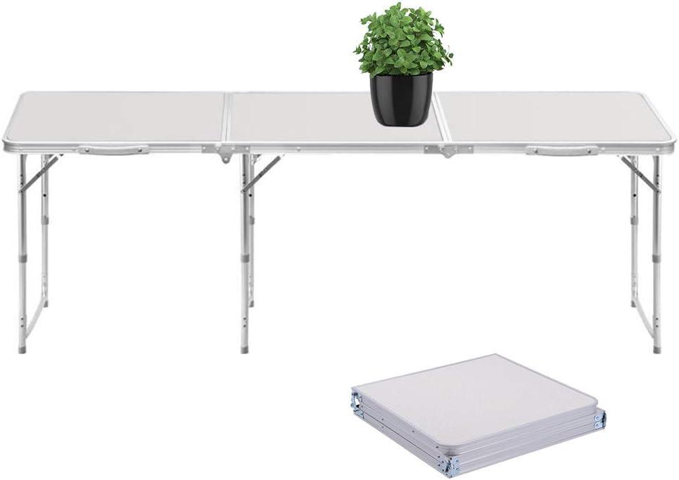 Sunreal Mesa Plegable portátil 1, 82 m Ajustable Plegable para Camping/Cocina/Mesa de Trabajo para Picnic/Barbacoa/Cena al Aire Libre en Interiores: Amazon.es: Jardín