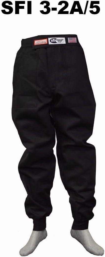 RACING FIRE SUIT DOUBLE LAYER PANTS SFI 3-2A//5 BLACK SIZE ADULT LARGE