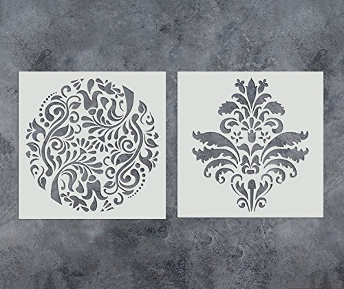 GSS Designs Pack of 2 Stencils Set (12x12 Inch) Reusable Template for Painting on Wood, Walls, Fabric, Airbrush, Furniture, Floor, Tiles (SL-012)