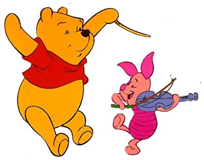 4 X 3 inch POOH bear PIGLET pig conductor orchestra violin musician IRON ON HEAT TRANSFER