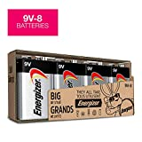 9V Batteries - 8 Pack, Energizer MAX Premium Alkaline 9 Volt Battery for smoke alarms, smoke detectors, and other devices