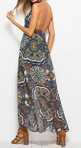 Cromoncent Neck Elegant Floral High Print V Long Womens Beach Dress Slit Beige rtqwI54r