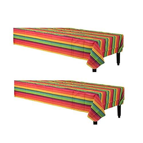 Mexican Rainbow Multicolor Vinyl Tablecovers for Cinco de Mayo or Birthday Fiesta Decoration (2 - Mayo Music Party De Cinco For