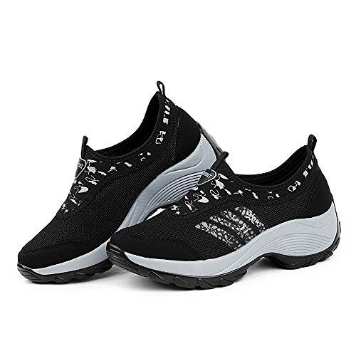 Enllerviid Vrouwen Slip Op Wedges Platform Toning Schoenen Mode Bloemen Gedrukt Fitness Wandelschoenen 1513 Zwart