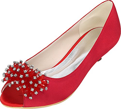 Sandals Red Dress Satin Toe Fashion Smart Prom 37 EU Work 01K Kitten Peep Bridesmaid Heel Party Wedding Comfort Bride Ladies 0700 pqUTnxfCq