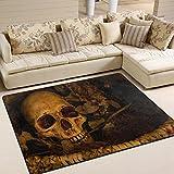 ALAZA Vintage Horrible Skull Area Rug Rugs for Living Room Bedroom 5'3 x 4′ For Sale