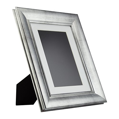 Craig Frames Verandah Table-top 8.5x11 Vintage Brushed Silver Standing Picture Frame with Mat