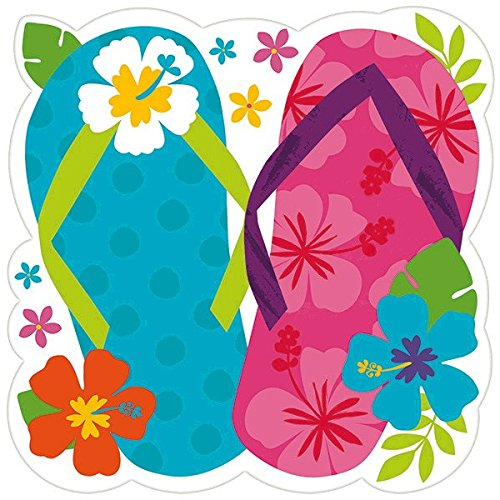 Flip Flop Decorations (Amscan Sun-Sational Summer Luau Party Hibiscus Flip Flop Large Cutout Decoration, 15