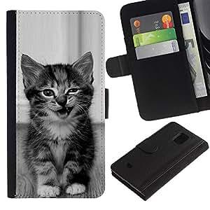 Paccase / Billetera de Cuero Caso del tirón Titular de la tarjeta Carcasa Funda para - kitten cute wink meow black white pet - Samsung Galaxy S5 Mini, SM-G800, NOT S5 REGULAR!