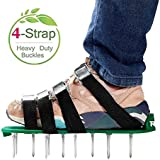 RVZHI Lawn Aerator Shoes with 4 Straps and Heavy Duty Metal Buckles - Spiked Sandals Shoes Garden Tool-Black