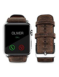 top4cus Genuine Leather iwatch Strap Replacement Band Stainless Metal Clasp, Compatible for 38mm 42mm Apple Watch Series 4(40mm 44mm) S3 S2 S1 and Sport Edition (42 mm, Old-School Brown)