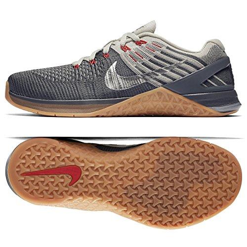 Nike Mens Metcon Dsx Scarpe Da Ginnastica Flyknit Grigio Scuro / Stucco Argento Metallizzato-scuro