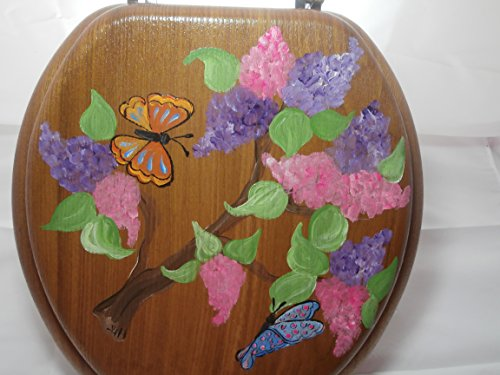 Hand painted lilac, butterfly standard oak toilet seat. - Cottage Commode