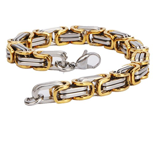 My4you Men's Stainless Steel Byzantine Bracelet Two Tone 9inch