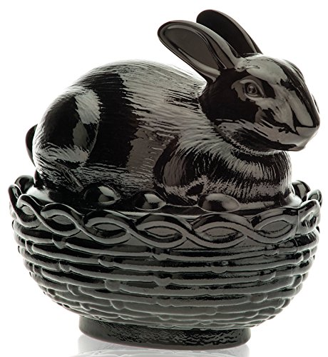 (Glass Easter Bunny Rabbit on Covered Dish Mosser Glass (Black Raspberry))