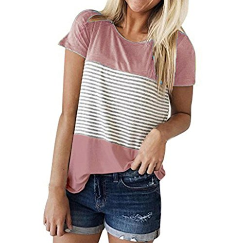 FEITONG Women Short Sleeve Round Neck Triple Color Block Stripe T-Shirt Casual Blouse (X-Large, Pink 2)