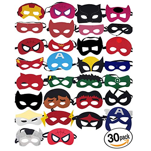 KetaKids Superheroes Party Masks. 30 Pieces Superhero Masks for Children Aged 3+ -