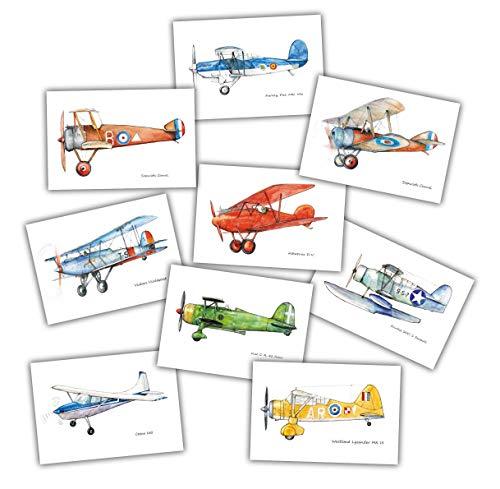 - Vintage Planes Cards Set 9 Postcards Aviation Theme Party