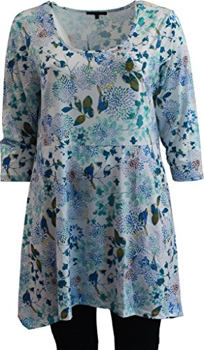 Women's Floral Printed Long Top with 3/4 Sleeve Rhinestone Tee Knit Top Multi 2X G160.11L