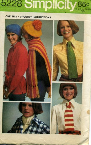 Simplicity Pattern Women's Beret, Scarf, Tie and Dickey Number 5228