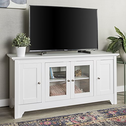 WE Furniture AZ52C4DOWH Transitional Wood Stand with Storage Cabinets for TV's up to 56