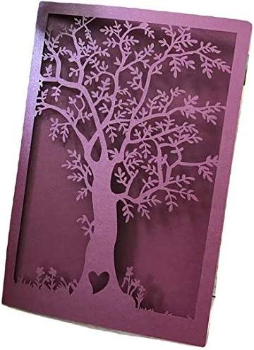 Tree Laser Cut Invitations Cards,Engagement,Birthday,Graduation,Anniversary Invitation Cards,Invite Cards,Laser Cut Wedding Invitations,Laser Cut Wedding Cards,Invitations,Pearl Burgundy Red 50pcs