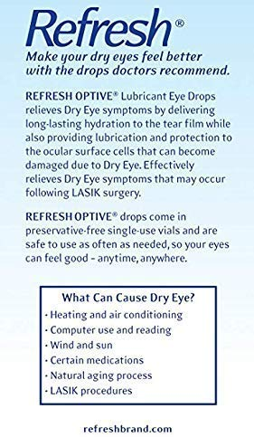 Refresh Optive Lubricant Eye Drops, 60 Single-Use Containers, 0.01 fl oz (0.4mL) Each Sterile 2-Pack