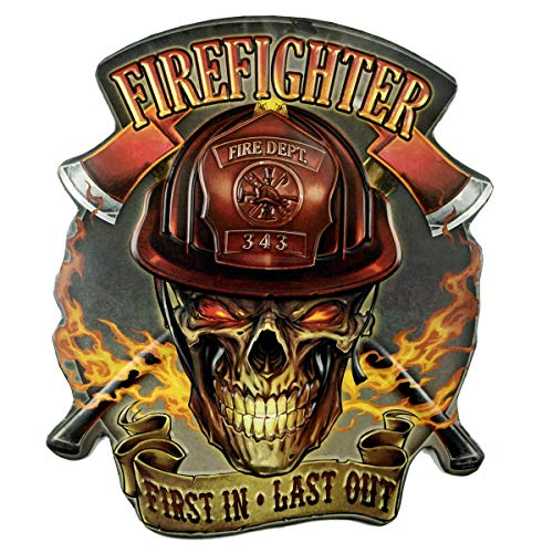 TG,LLC Large 3D Flaming Skull Metal Firefighter Sign