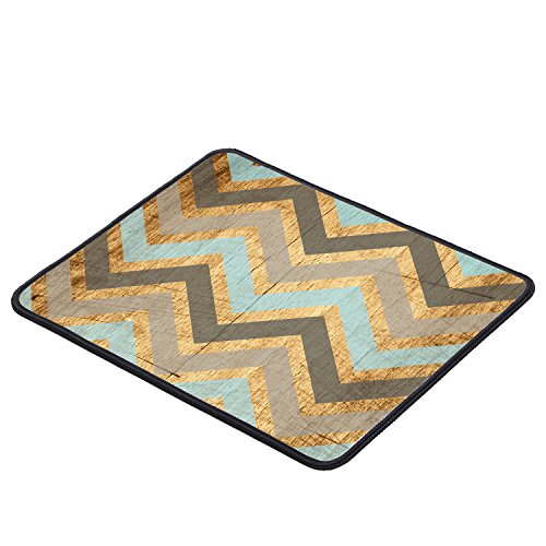 Vintage Wood Chevron Unique Custom Large Gaming Mouse Pad Mousepad, Non-Slip Rubber and Stitched Edges (9.8x7.9 inches)