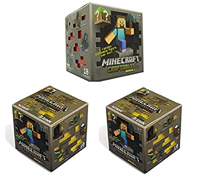 """Official Minecraft Craftables Series 1 Figure 3-Pack Set Blind Pack """"3 Random Styles"""""""
