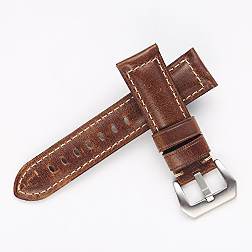 fb695e726 Carty Mens Oil Wax Calfskin Handmade Leather Watch Band 20mm 22mm 24mm 26mm Watch  Straps Black Brown Blue Vintage