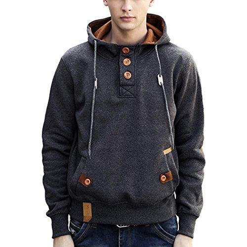 ICOOLYI+Men%27s+Hoodie+Sweatshirt+Fashion+Fleece+Pullover+Jacket+%28Large%2C+Charcoal+Gray%29
