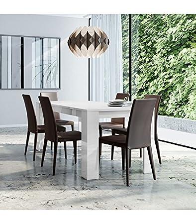 InHouse srls Tavolo Moderno in Legno, Bianco Laccato, 180x90 77H ...