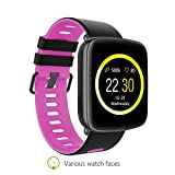 SENBONO GV68 Bluetooth Smart Watch IP68 Waterproof Smartwatch Sport Pedometer Sedentary Alarm Heat Rate Sleep Health Monitor Fitness Tracker for IOS Android Phone (black pink)